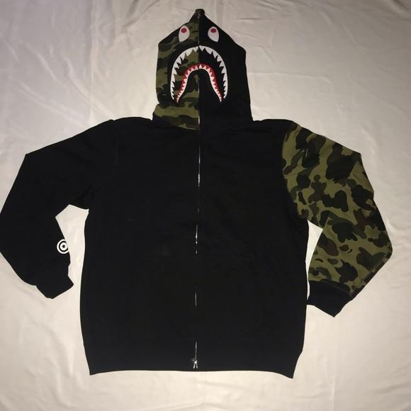 Bape Other - Bape Half Green 1st Camo Full Zip Shark Hoodie